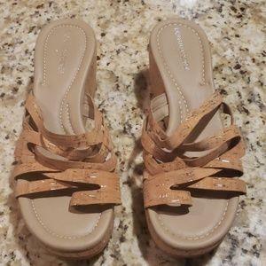 Donald J Pliner tan cork platform wedge shoes